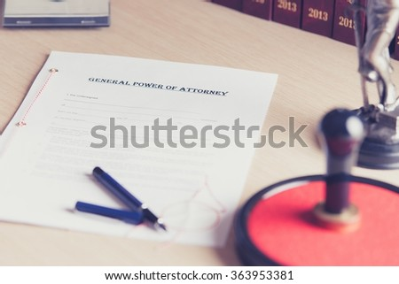 Prepared to be signed by a notary public power of attorney - stock photo
