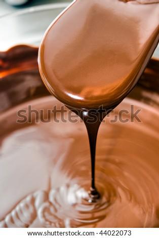 Preparing  chocolate for dessert, called tartufo. - stock photo