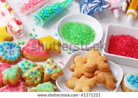 Preparing christmas cookies, close up - stock photo