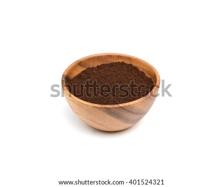 Preparing coffee powder in wooden bowl on white background. - stock photo