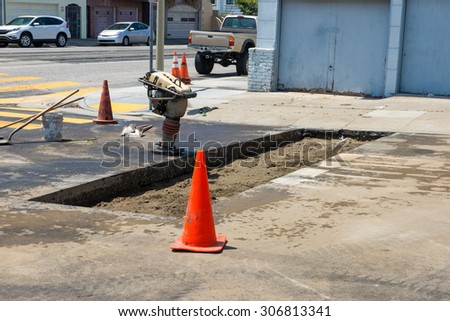 Preparing Concrete Pavement - stock photo