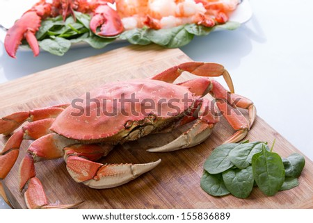 Preparing dungeness crab, red lobster and shrimps in the kitchen on the cutting board along with baby spinach - stock photo