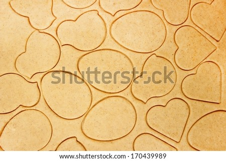 Preparing easter gingerbread cookies. Steps of making biscuits. Top view - stock photo