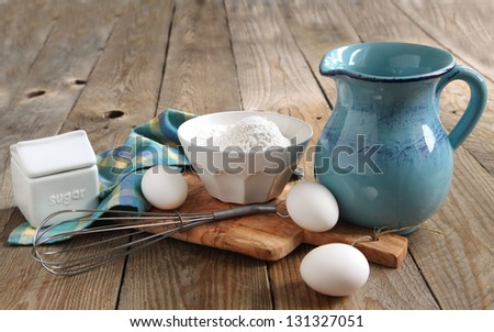Preparing for baking a crepes or pancakes - stock photo