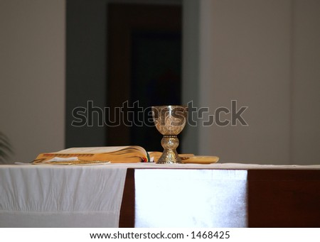 preparing for communion - stock photo