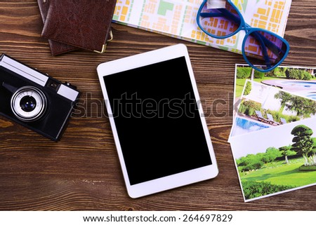 Preparing for travel,reservation ticket close-up - stock photo