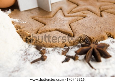 Preparing gingerbread cookies for christmas - stock photo
