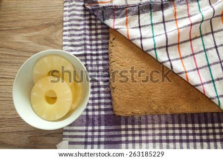 Preparing pineapple cake - stock photo