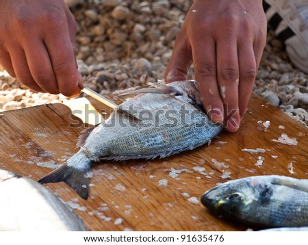 Preparing sea food on the beach outdoor - stock photo