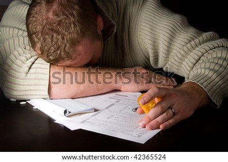 Preparing Taxes - Concept Suicide - stock photo