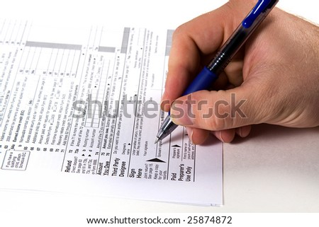 Preparing Taxes - Form 1040 for 2008 - stock photo