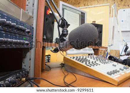 preparing the news broadcast - stock photo