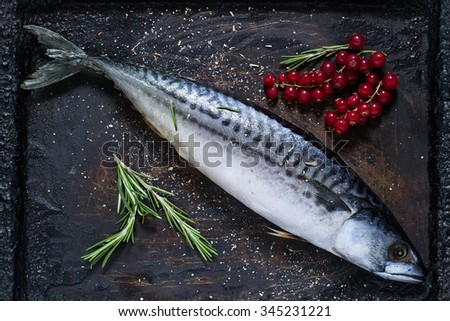 Preparing to bake mackerel with red currants and spices on an old scratched iron pan - stock photo