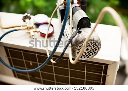 preparing to install new air conditioner. - stock photo