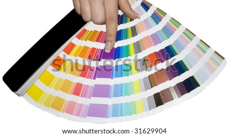 Prepress color scale isolated with clipping path - stock photo