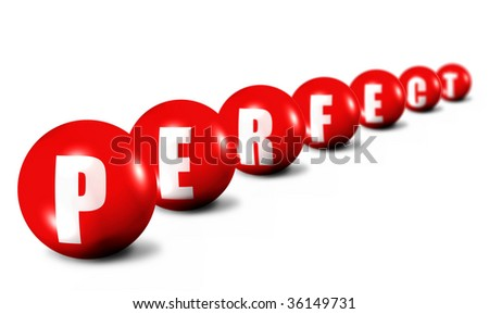 Prerfect word made of 3D spheres on white, focus set in foreground