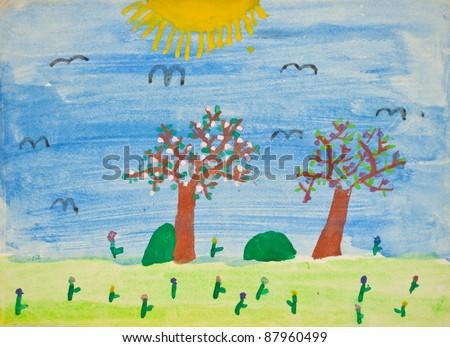 Preschool child's painting - stock photo