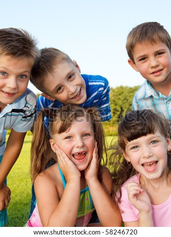 Preschool friends laughing - stock photo