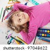 Preschool girl drawing - stock photo