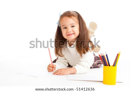Preschool girl drawing