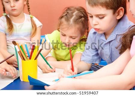 Preschool kids drawing - stock photo