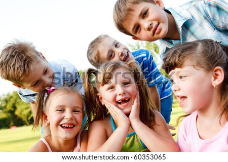 Preschool kids laughing - stock photo