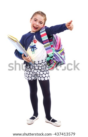 Preschool student girl thumbs up on white background - stock photo