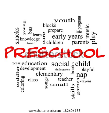 Preschool Word Cloud Concept in red caps with great terms such as youth, education, learn and more.