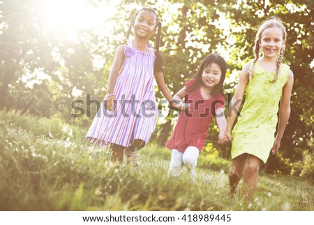 Preschooler Children Play Recreation Friends Concept - stock photo