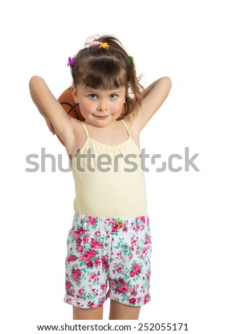 Preschooler girl with basketball ball. Charming child in shorts and tank top posing on white background indoors. Studio shot. Isolate on white - stock photo
