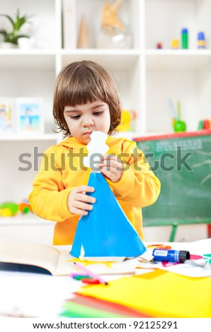 Preschooler on a art class - stock photo