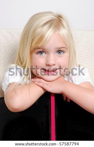 preschooler with book - stock photo