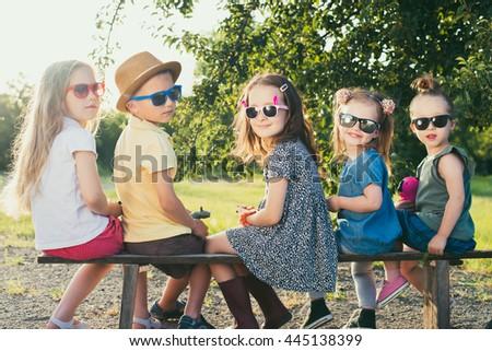 Preschoolers build relationships - stock photo