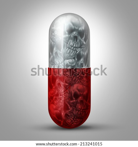 Prescription drug abuse concept as a social issue symbol for the addiction to pharmaceutical medication and the health danger and problem of being addicted to and overdose of prescribed medicine. - stock photo