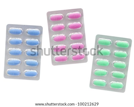 Prescription drugs isolated on a white background - stock photo