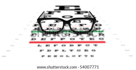 Prescription glasses sitting on an eye test chart - stock photo