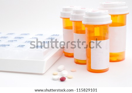 Prescription medications and boxes