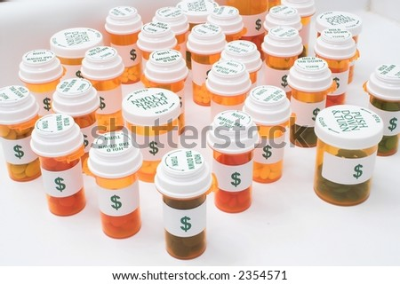 Prescription Medicine Pill Bottles - stock photo