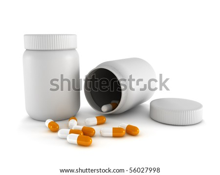 Prescription medicine. Spilled pills from prescription bottle isolated on white background. High quality 3d render. - stock photo
