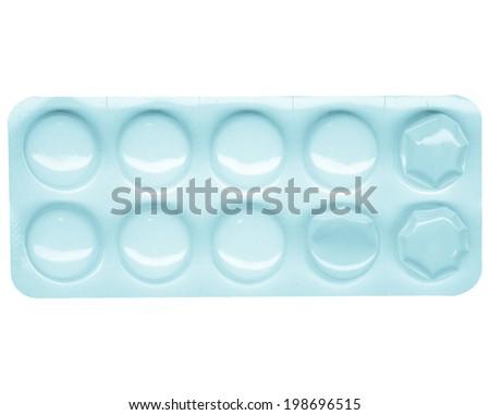 Prescription or over the counter pharmaceutics drug pills - cool cyanotype - stock photo