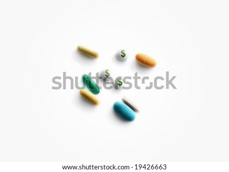 Prescription pills on white background with dollar signs - stock photo