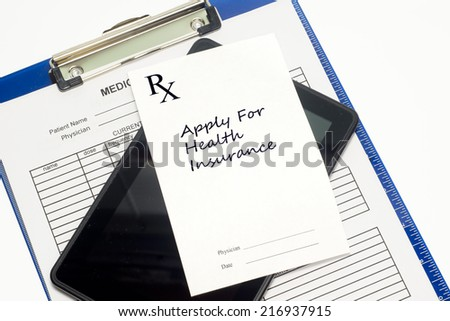Prescription to apply for health insurance with medical record and stethoscope. - stock photo