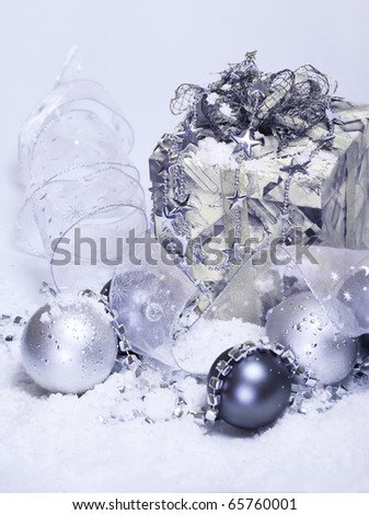 Present box and other Christmas accessories - stock photo