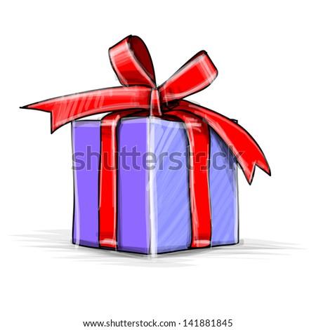 Present box cartoon sketch illustration - stock photo