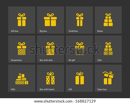 Present box icons. See also vector version. - stock photo