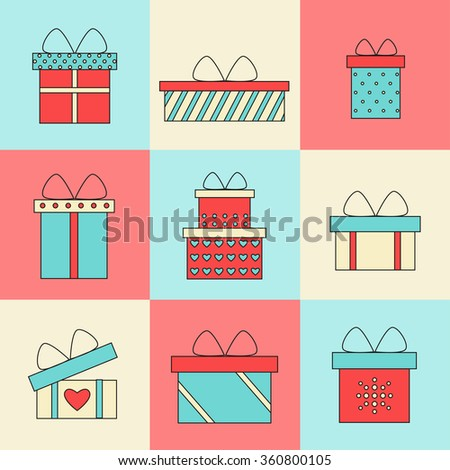 Present box isolated icons on colored background. Christmas present. Birthday present. Holiday present. Present icon. Present gift. Presents collection. Flat line style illustration.  - stock photo