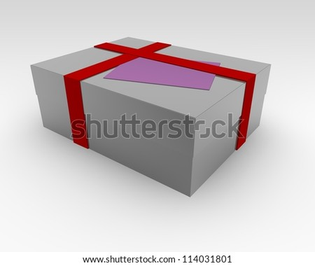 Present box with a decorative red ribbon and blank pink tag for your best wishes or greeting