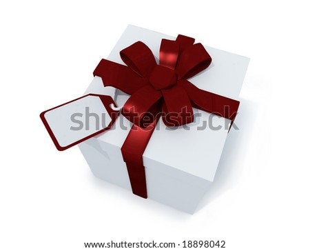 present box with label on white background. FIND MORE present boxes in my portfolio