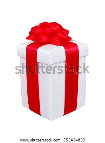 present box with red bow on white
