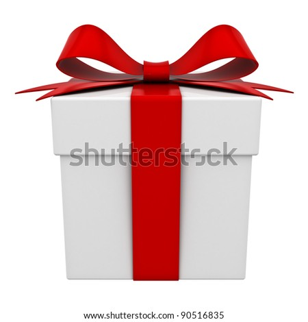 Present box with red ribbon bow isolated on white background - stock photo